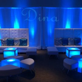 high-back sectional, ottomans, and light up cubes available in vip lounge furniture rental for sweet sixteen dj parties
