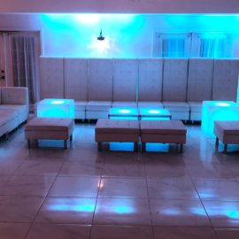white sectional sofa available in vip lounge furniture rental for sweet sixteen dj parties, bat mizvahs, and quinceaneras