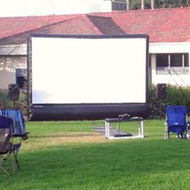 outdoor movie screen inflatable projector rental long island